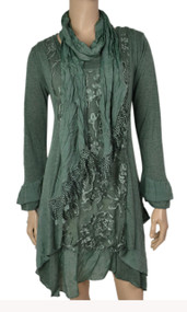 pretty angel Green Side tail Linen Blend Tunic with scarf set