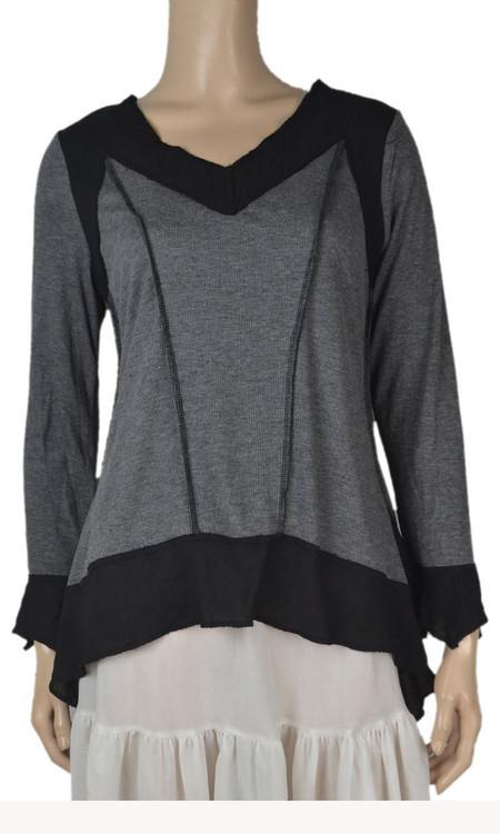 pretty angel Dark Gray & Black Linen blend Tops
