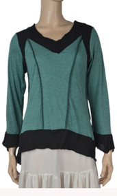 pretty angel Teal & Black Linen blend Tops