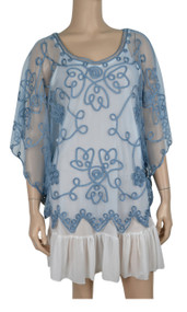 pretty angel Blue Embroidered Cape Sleeve Top
