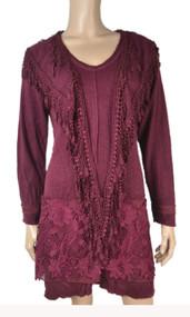 pretty angel Burgundy Linen Blend Elegant Tunic
