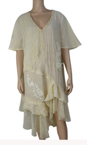 Pretty Angel Caramel Sheer Ruffle Linen Blend Dress Plus