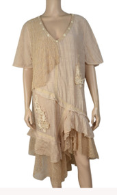 Pretty Angel Peach Sheer Ruffle Linen Blend Dress Plus