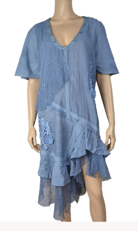 pretty angel Blue Sheer Ruffle Linen Blend Dress Plus