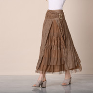 pretty angel Ecru & Brown Buckle Skirt