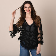 pretty angel Black Embroidered Cardigan