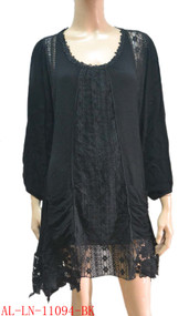 pretty angel Black Linen Blend Tunic with Pocket