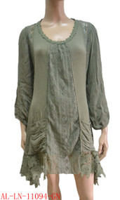 pretty angel Green Linen Blend Tunic with Pocket