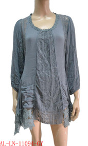 pretty angel Gray Linen Blend Tunic with Pocket