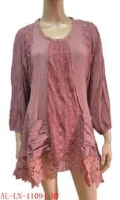 pretty angel Mauve Linen Blend Tunic with Pocket