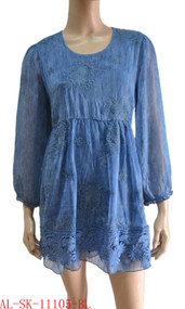 Blue Textured Silk Blend Tunic