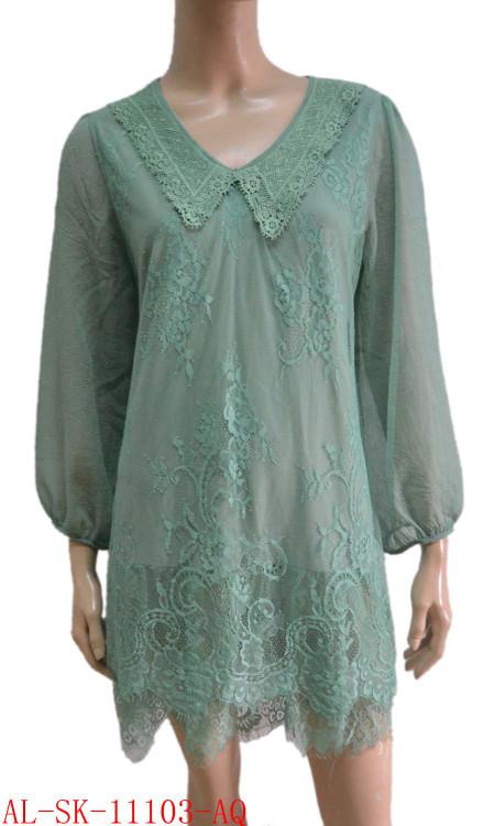 pretty angel Aqua Linen Blend Tunic with Sheer Sleeve