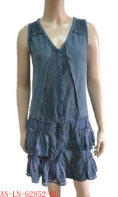 pretty angel Blue Button up Vest with Pocket