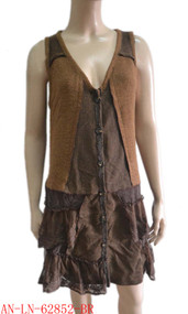 pretty angel brown Button up Vest with Pocket