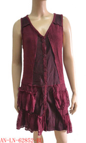pretty angel burgundy Button up Vest with Pocket