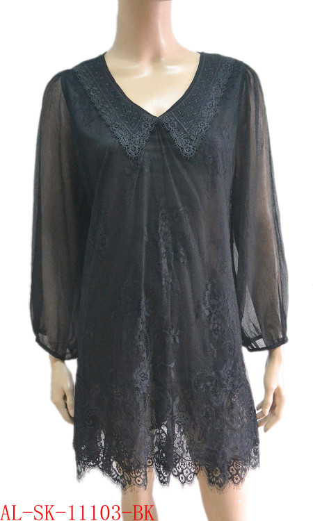pretty angel black Linen Blend Tunic with Sheer Sleeve