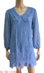 pretty angel blue Linen Blend Tunic with Sheer Sleeve