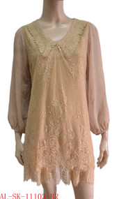pretty angel brown Linen Blend Tunic with Sheer Sleeve