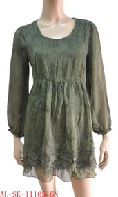 pretty angel green Textured Silk Blend Tunic