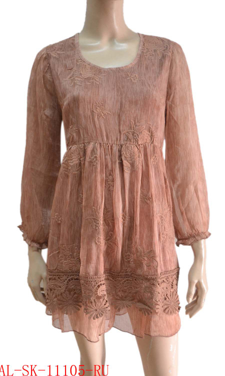 pretty angel rust Textured Silk Blend Tunic