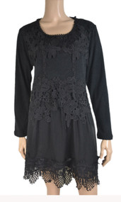 pretty angel Black Linen Blend Embroidered Tunic