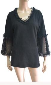 pretty angel Black Linen Blend Crochet Sleeve Tunic