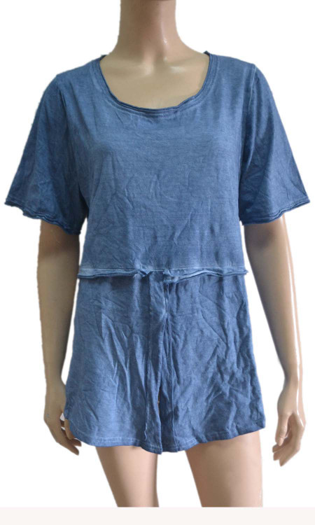 pretty angel Blue Linen Blend Short Sleeve Top
