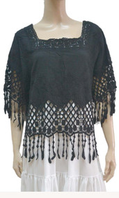 pretty angel Black Linen Blend Fringe Top