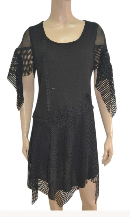 pretty angel Black Linen Blend cape Sleeve Tunic