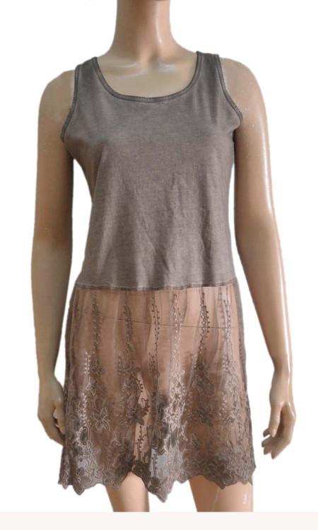 pretty angel ecru Linen Blend Lace Bottom Tunic