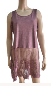 pretty angel mauve Linen Blend Lace Bottom Tunic