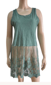pretty angel teal Linen Blend Lace Bottom Tunic