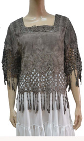 pretty angel ecru Linen Blend Fringe Top