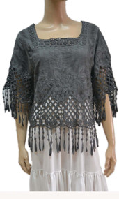 pretty angel gray Linen Blend Fringe Top