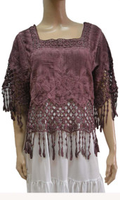 pretty angel mauve Linen Blend Fringe Top