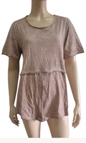 pretty angel Brown Linen Blend Short Sleeve Top