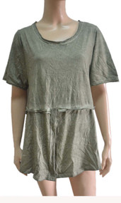 pretty angel green Linen Blend Short Sleeve Top