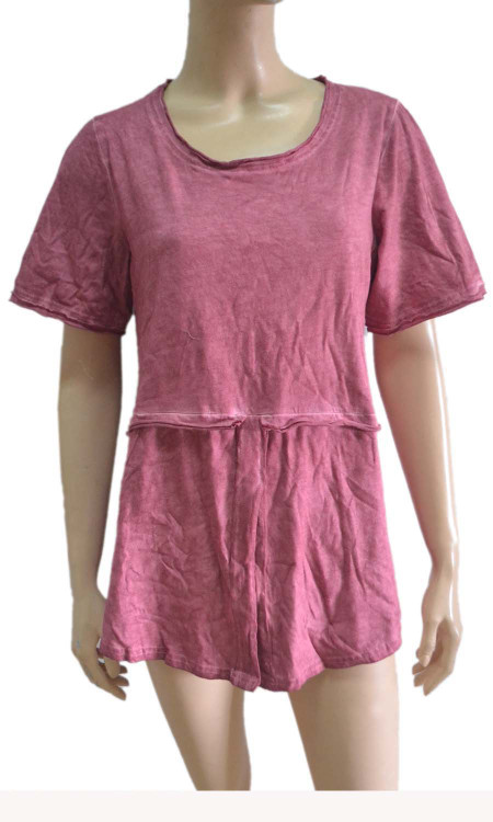 pretty angel mauve Linen Blend Short Sleeve Top