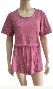pretty angel mauve Linen Blend Short Sleeve Top