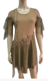 pretty angel Brown Linen Blend cape Sleeve Tunic