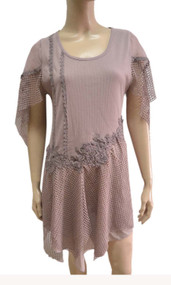 pretty angel mauve Linen Blend cape Sleeve Tunic