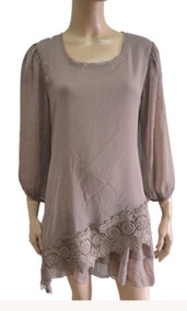 pretty angel Brown Silk Blend Lace Bottom Tunic