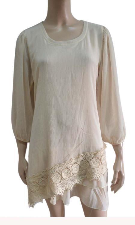 pretty angel caramel Silk Blend Lace Bottom Tunic
