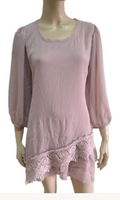 pretty angel light mauve Silk Blend Lace Bottom Tunic