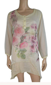 pretty angel caramel Silk Blend Floral Layered Tunic