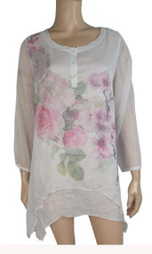 pretty angel cream Silk Blend Floral Layered Tunic