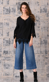 pretty angel Black Linen Blend Embellish Peasant Top