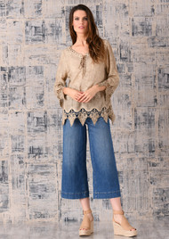 pretty angel Brown Linen Blend Embellish Peasant Top