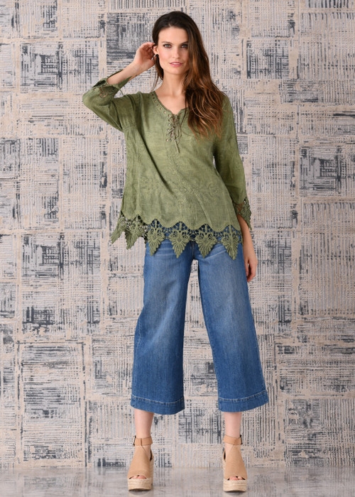pretty angel green Linen Blend Embellish Peasant Top
