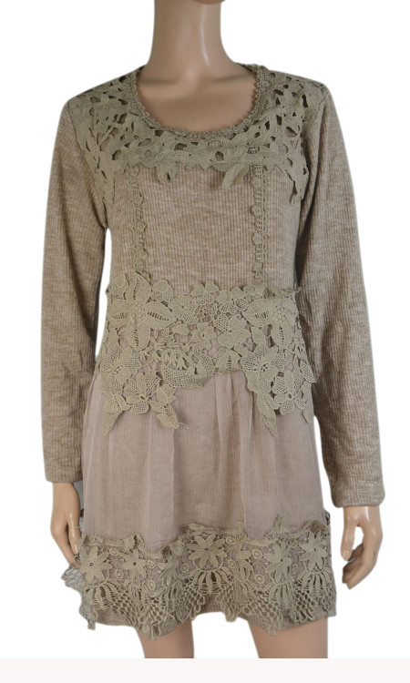 pretty angel caramel Linen Blend Embroidered Tunic